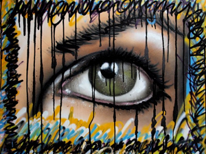 Spray and ink on wood (Only for your Eyes 3)