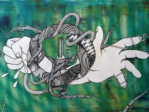 La llave – Acrílico y tinta sobre lienzo