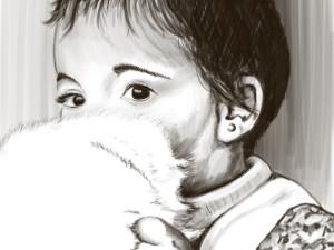 """Ilustración """"niña con peluche"""""""